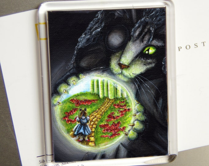 Wicked Witch Cat, Wizard of Oz Emerald City Yellow Brick Road, Fridge Magnet