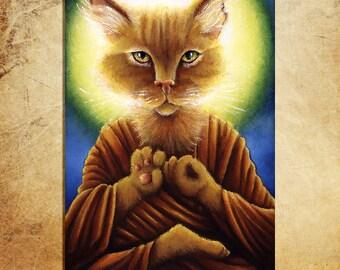 Buddha Cat 5x7 Fine Art Print