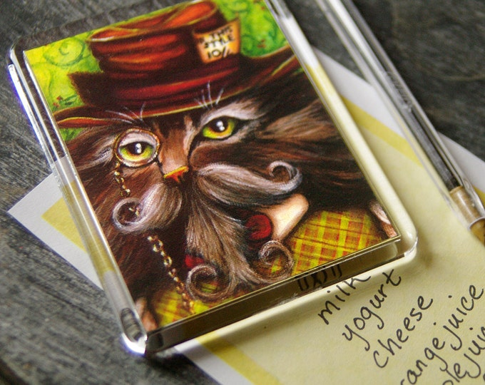 Mad Hatter Cat Magnet, Alice in Wonderland Fantasy Cat Art Fridge Magnet