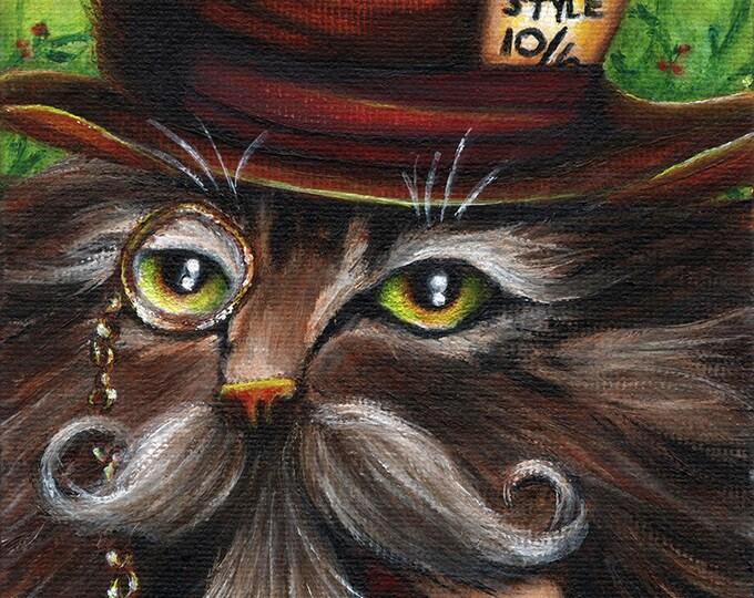 Mad Hatter Cat 5x7 Fine Art Print CLEARANCE