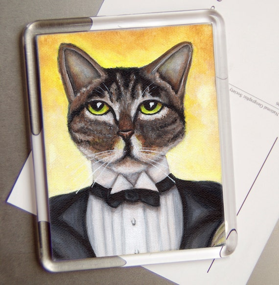 Tabby Cat Fridge Magnet, Great Gatsby Cat Wearing Tuxedo, Cat Art Magnet