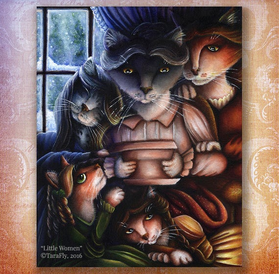 Little Women Cats 5x7 Fine Art Print