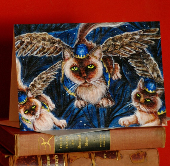 Flying Monkey Cats Wizard of Oz Greeting Card