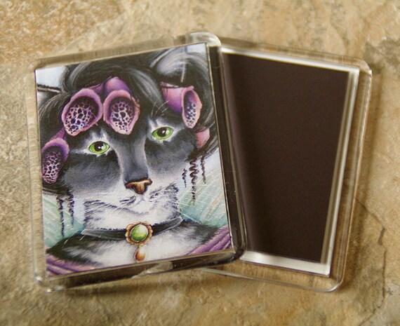 Foxglove Cat Magnet, Victorian Flower Fairy Cat Art Fridge Magnet