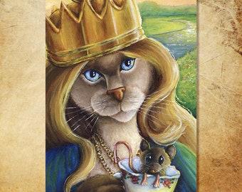 Queen Alice Cat, Through the Looking Glass, Alice in Wonderland Fine Art Print