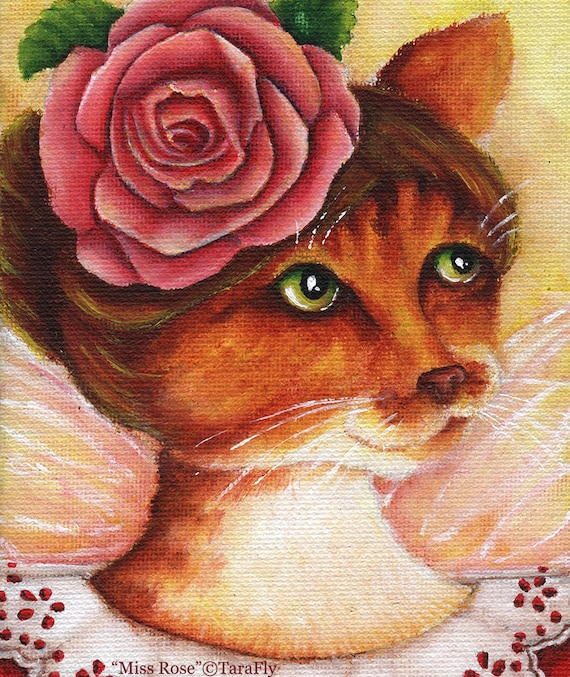 Rose Fairy Cat 8x10 Fine Art Print