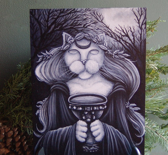 ORIGINAL PAINTING, Druid Priestess Seer Cat Art, Acrylics on Masonite