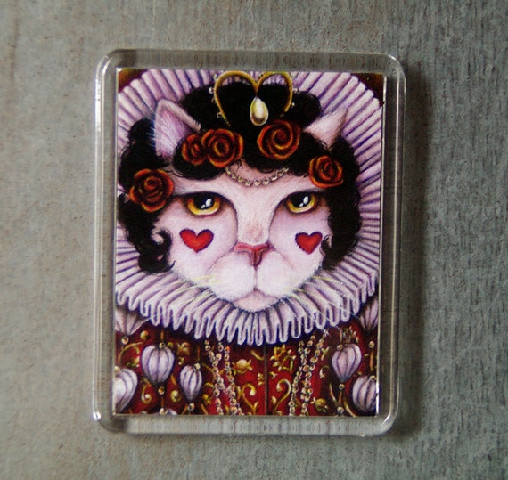 Queen of Hearts Cat Magnet Though the Looking Glass Alice in Wonderland