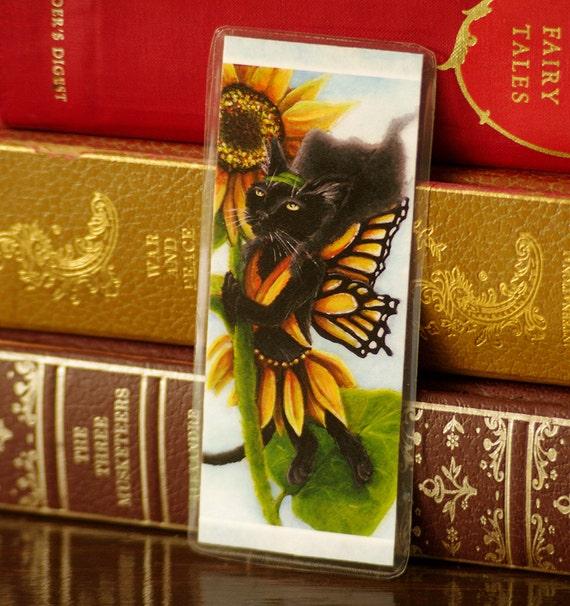 Sunflower Fairy Black Cat Bookmark