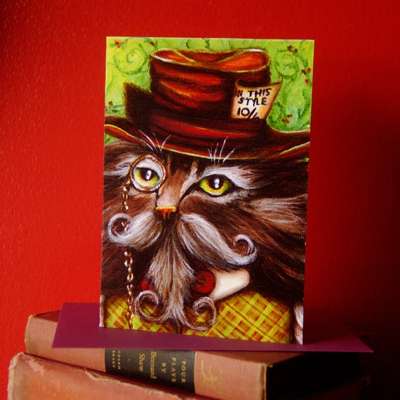 Mad Hatter Cat Greeting Card