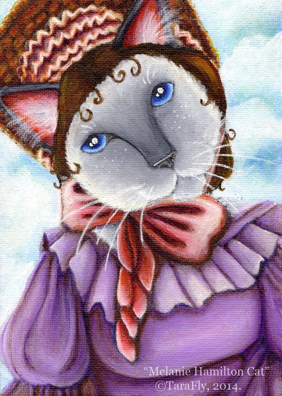 Siamese Cat Art, Silver Point Cat in Purple Dress, Bonnet, Pink Bow, 5x7 CLEARANCE Fine Art Print
