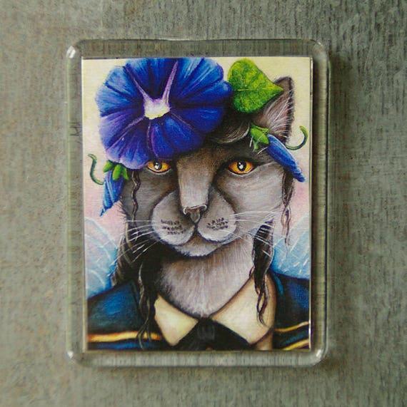 Morning Glory Cat Magnet, Flower Fairy, Russian Blue Cat Art Fridge Magnet