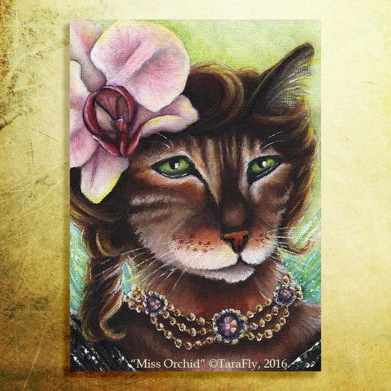 Orchid Fairy Cat 5x7 Fine Art Print