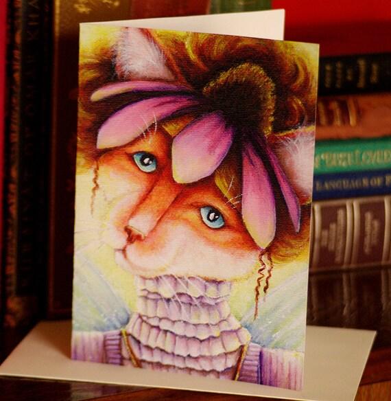 Coneflower Fairy Cat 5x7 Blank Greeting Card