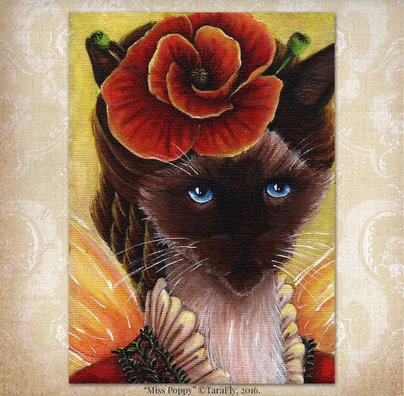 Siamese Cat Poppy Flower 5x7 Fine Art Print