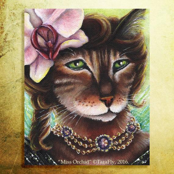 Orchid Fairy Cat 8x10 Fine Art Print