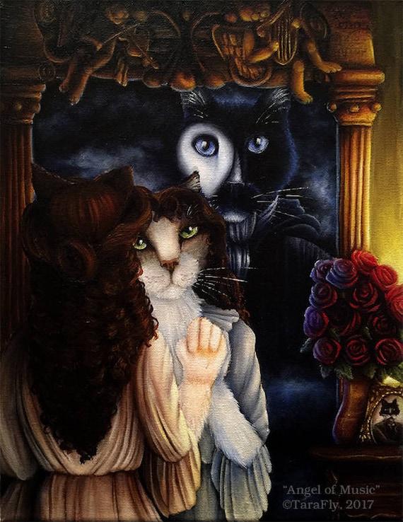 Angel of Music Phantom Cat 11x14 Fine Art Print