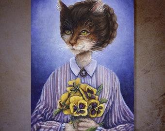 Meg March Cat, Pansy Bouquet, Little Women Fine Art Reproduction Print