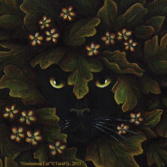 Greenman Cat 8x10 Fine Art Print