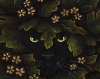 Greenman Cat Spirit of the Forest 5x7 Fantasy Fine Art Print