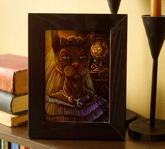 Ms Havisham Sphinx Cat, Great Expectations Original Acrylic Painting
