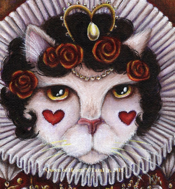 Queen of Hearts Cat 5x7 Fine Art Print