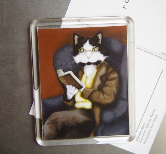 Reading Cat Magnet, Dressed Tuxedo Cat Reading a Book, Fridge Magnet