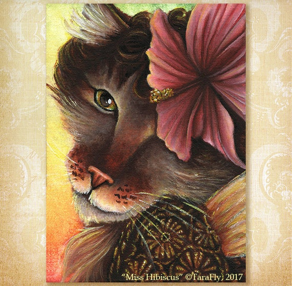 Hibiscus Fairy Maine Coon Cat 5x7 Fine Art Print