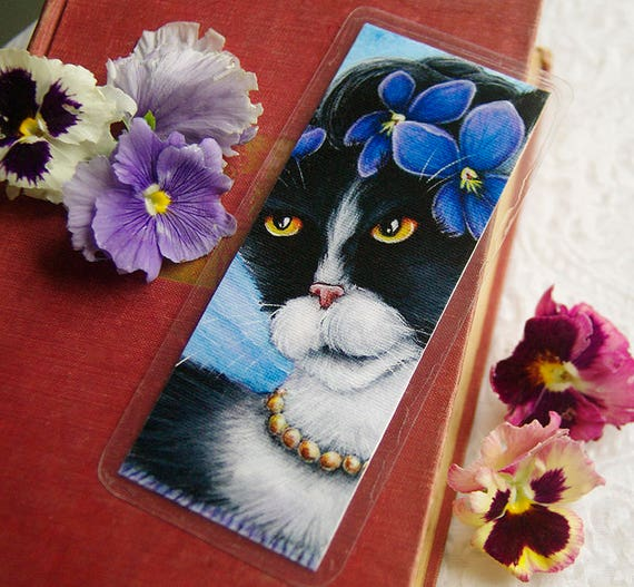 Violet Flower Cat Bookmark