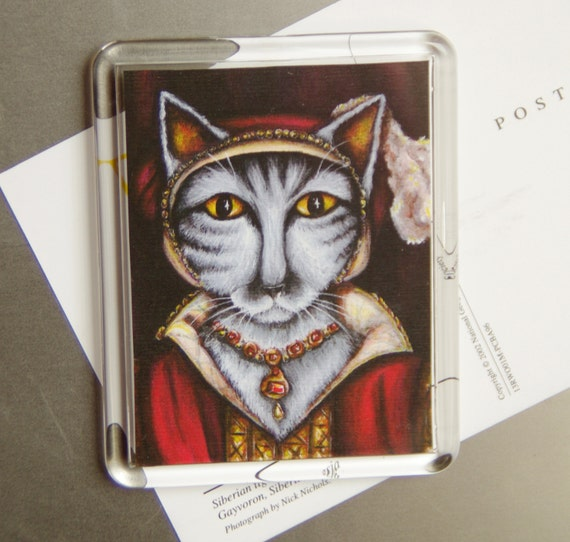 Tudor Cat Magnet, Silver Tabby Cat as Catherine Parr, Fridge Magnet