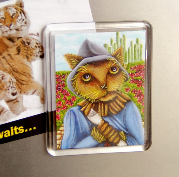 Scarecrow Cat, Wizard of Oz, Emerald City, Yellow Brick Road, Cat Fridge Magnet