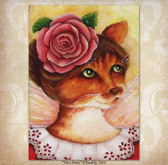 Rose Flower Fairy Cat 5x7 Fine Art Print