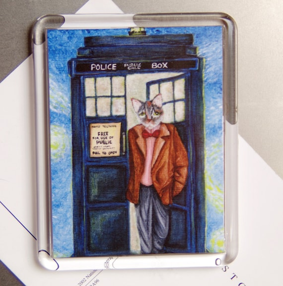 Doctor Cat Magnet, Grey Tabby Cat, Time Traveling Police Call Box, Fridge Magnet