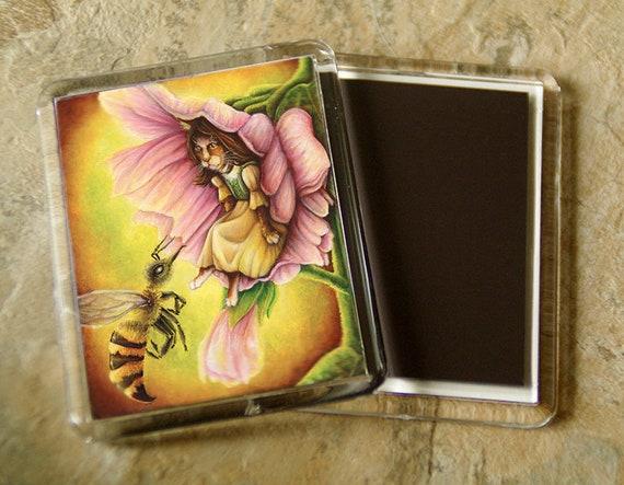Thumbelina Cat Magnet Fairy Tale Flower Bee Art Refrigerator Magnet