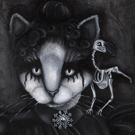 Gothic Cat Art, Creepy Cat and Dead Raven Skeleton, Black and White 8x10 Fine Art Print