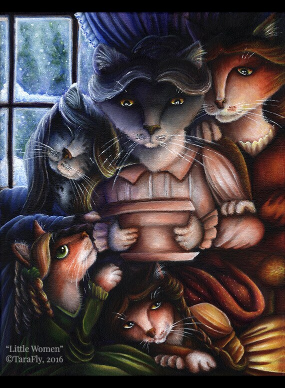 Little Women Cats 11x14 Fine Art Print