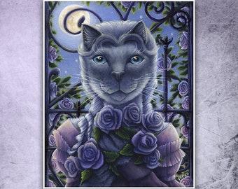 Cosette Cat, Moonlit Garden, Fine Art Reproduction Print