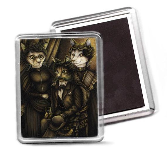 Arsenic and Old Lace Cat Art Fridge Magnet