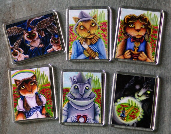 Wizard of Oz Cat Magnets, Set of 6 Main Characters as Cats Fridge Magnets