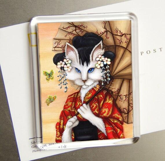 Geisha Cat Kimono Fridge Magnet, White Cat Dressed in Dragon Kimono, Parasol