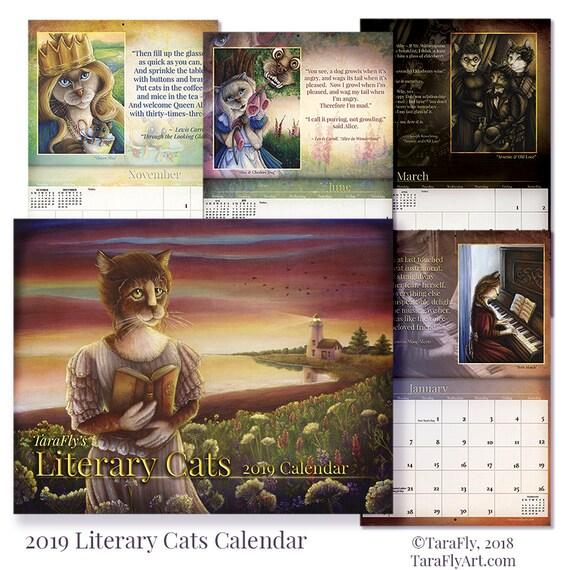2019 Literary Cats Calendar, Limited Edition Cat Art Wall Calendar