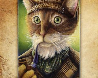 Sherlock Holmes Ginger Tabby Cat Fine Art Reproduction Print