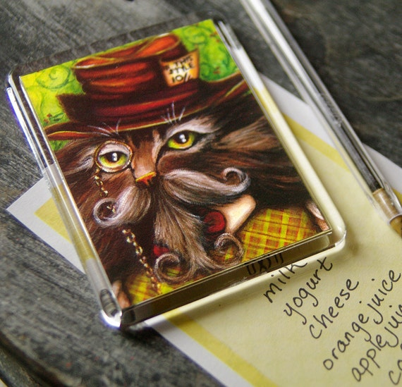 Mad Hatter Cat Magnet, Alice in Wonderland Fantasy Cat Art Fridge Magnet