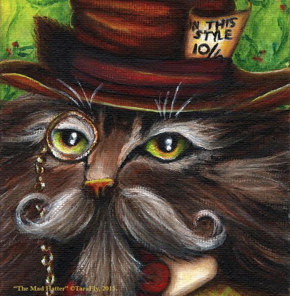 Mad Hatter Cat 5x7 Fine Art Print CLEARANCE