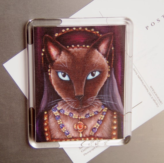 Tudor Cat Magnet, Siamese Cat as Catherine Howard, Fridge Magnet