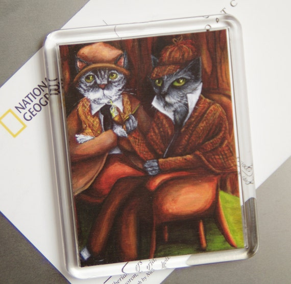 Sherlock Cat Magnet, Grey Cats Sherlock Holmes and Watson, Fridge Magnet
