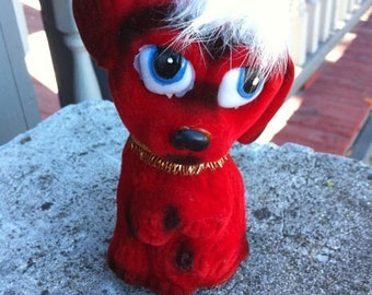 1950s Red DESPERATE DOG Flock Bank MINT Carnival Prize