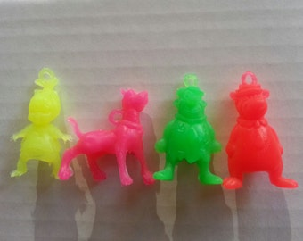 FULL SET of FOUR 1974 Plastic Hanna-Barbara Pencil Toppers and Pendants