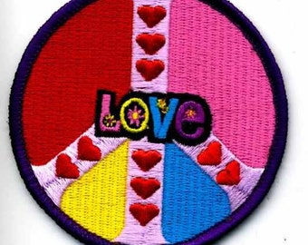 1960s-70s Hippie Peace Movement  PEACE HEARTS with LOVE Word Middle Patch 3 inch