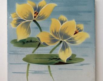 Art Nouveau Tile Lily Pad with Lotus Flower - Saint Amand Nord & Hamage